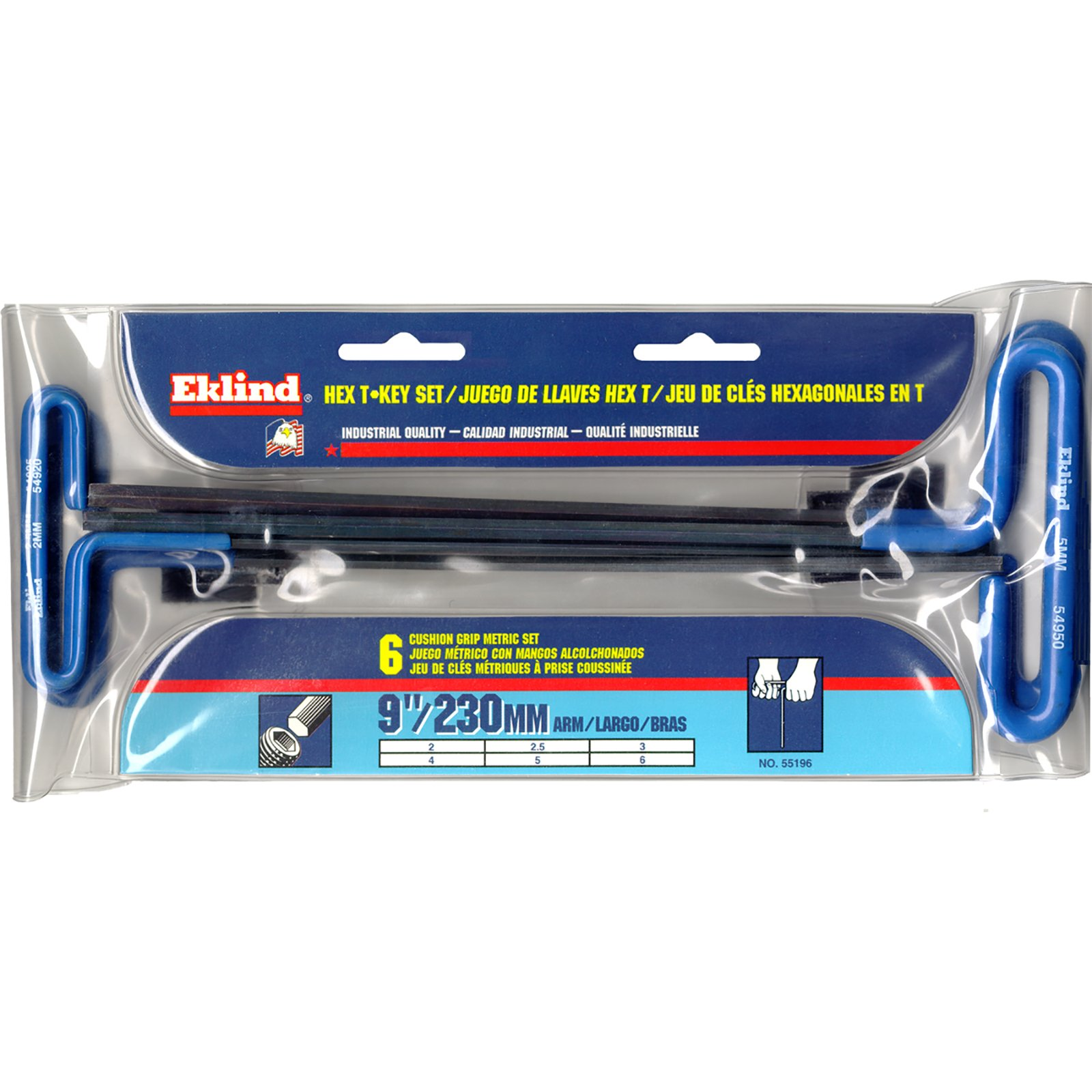 Eklind 55196 6 Piece 9'' Series Cushion Grip Hex T-Key Set with Pouch, Sizes: 2 mm - 6 mm