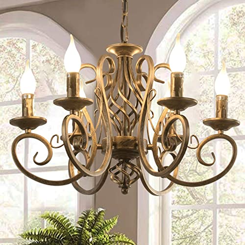 Ganeed French Country Chandeliers,6 Lights Candle Wrought Iron Chandelier,Rustic Farmhouse Pendant Light Fixture Hanging Lighting for Kitchen Island,Dining Room,Living Room,Foryer