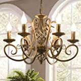 Ganeed French Country Chandeliers,6 Lights Candle Wrought Iron Chandelier,Rustic Farmhouse Pendant Light Fixture Hanging…