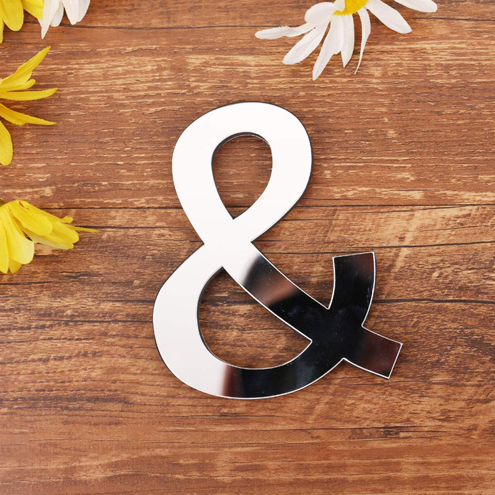 ❤ 26 Letters Decor with Reflecting Mirror Creative Wall Stickers for Home Decor I A-Z with /&