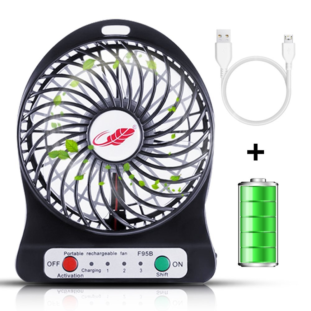Rasse Portable Fan Rechargeable Mini Fan Portable Fan, USB Fan Personal Fan Desktop Table Cooling Fan with 3 Speeds Rechargeable Operated Battery Fan for Office Outdoor Hiking Camping Black