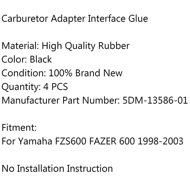 Adaptador de carburador para motocicleta junta de aire de pegamento para Yamaha FZS600 FAZER 600 98-2003 Artudatech 4 piezas de interfaz de carburador de entrada