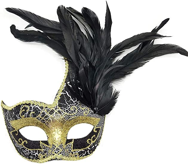 Masquerade Gold Venetian Mardi Gras Glitter Flower Feather Party Showgirl Mask