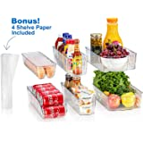Sagler Fridge Organizers Set of 10-Stackable Refrigerator Bins, Set Includes 6 Food containers and 4 precut Shelf Liners shel