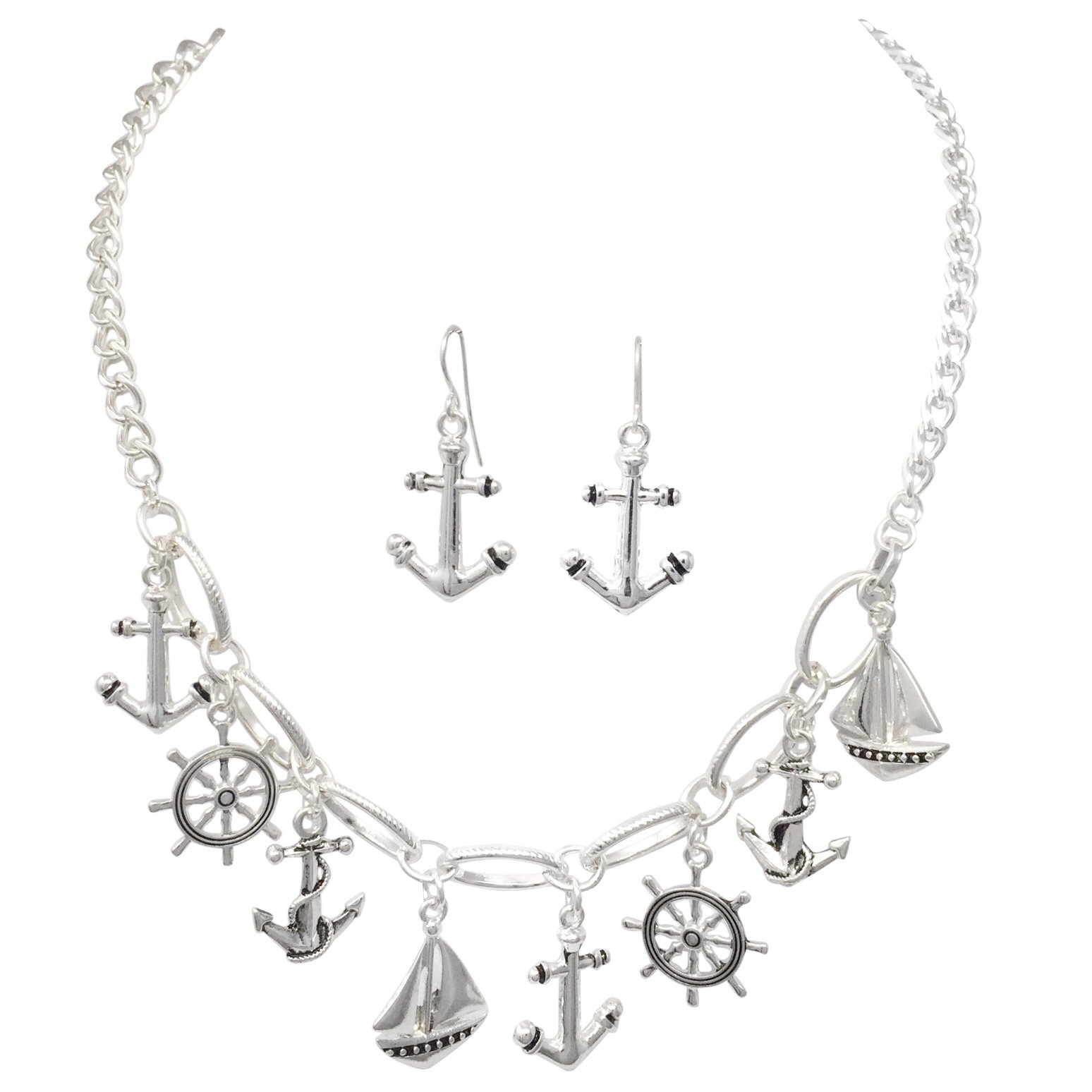 Nautical Charm Theme Silver Tone Necklace & Dangle Earrings Set (Anchor Ship Wheel Sailboat)