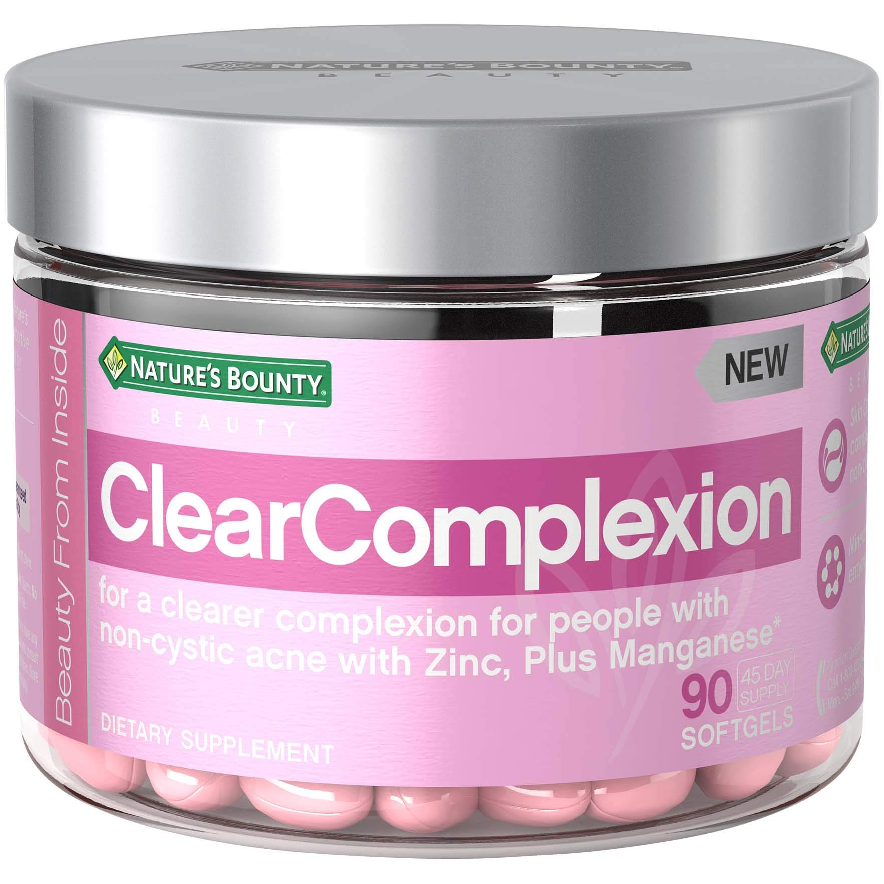Beauty by Nature's Bounty, Dietary Supplement for Clear Complexion, with Zinc for Immune Support Plus Manganese*, for People with Non-Cystic Acne*, 90 Softgels
