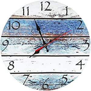 LOHAS Home 12 Inch Silent Vintage Design Wooden Round Wall Clock (Seashore)