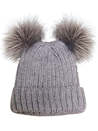d1c5b1c39b5 Choies Women Cute Cable Knitted Beanie Hat With Faux Fur Pom Pom Ears  Bobble Hat Gray Onesize  Amazon.co.uk  Clothing