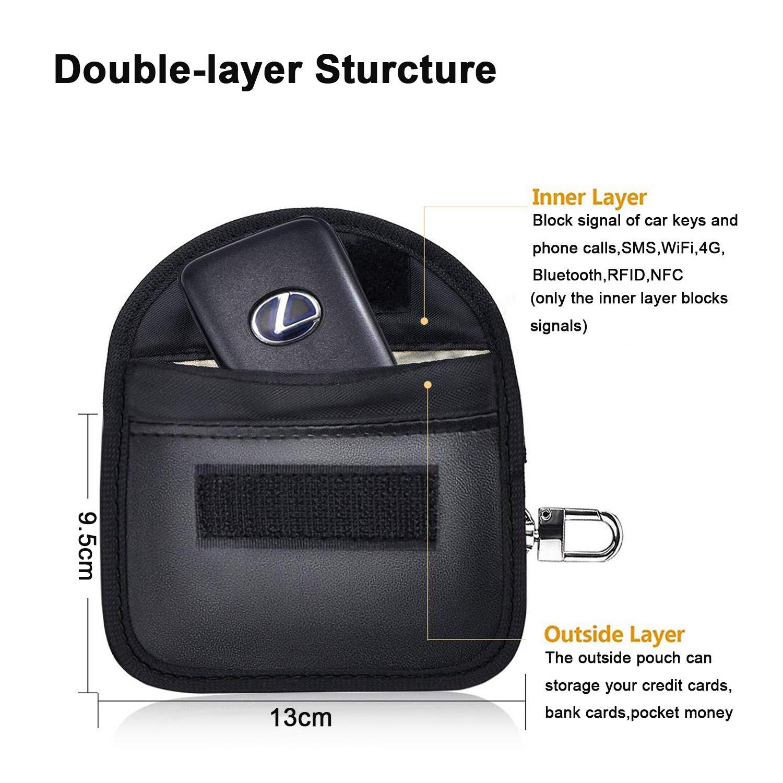 EasyULT 2 Paquetes Mini Faraday Bolsa para Llaves de Coche Funda para Bloqueo de se/ñal de Llave de Coche,Bolso antirrobo de Cuero PU,Faraday Bolsa Llave Bag WiFi//gsm//LTE//NFC//RF Blocke