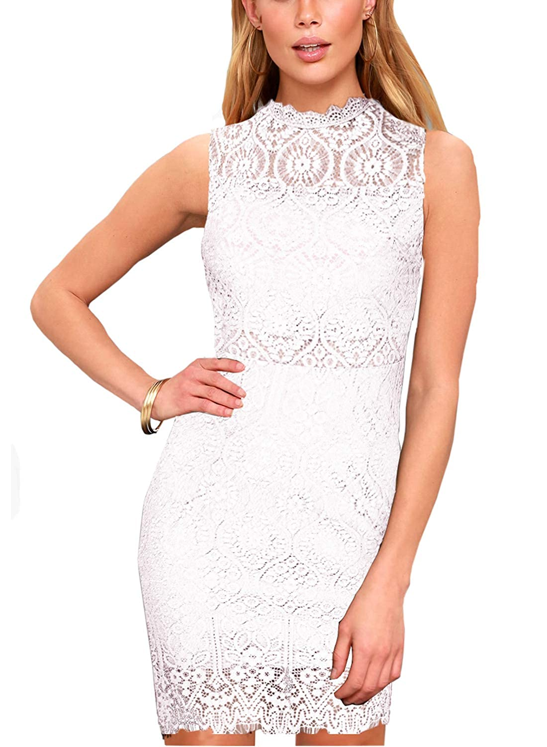 Zalalus Womens Elegant Sleeveless High Neck Floral Lace Cocktail Party Dress
