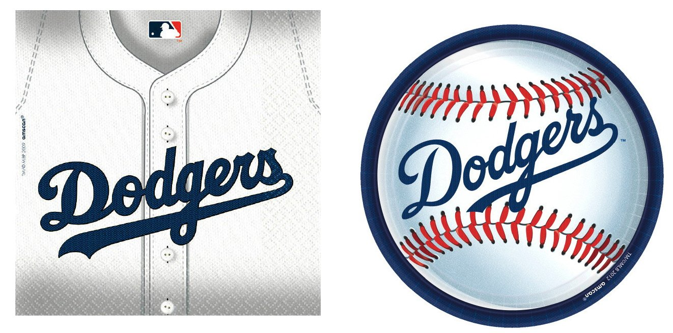 MLB Party Bundle: One Pack of 18 9'' Plates and One Pack of 36 Napkins (Los Angeles Dodgers) by Cirdan