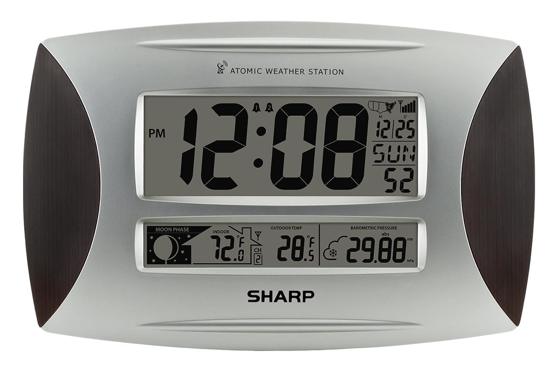 sharp weather station. amazon.com: ashton sutton spc1005wg sharp atomic weather wall clock: home \u0026 kitchen station m