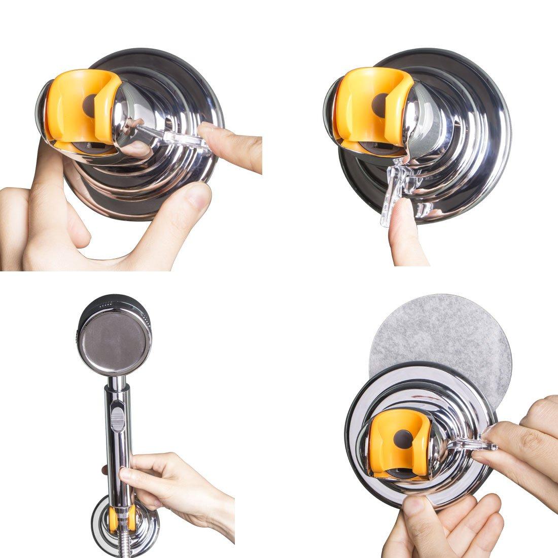 4FQ Angle Adjustable Shower Head Holder Vacuum Suction Cup Shower Holder Bracket Removable Wall Mount Bracket Moistureproof Waterproof Heavy Duty Reusable Holder Bracket For Bathroom Hotel,Chrome Finish