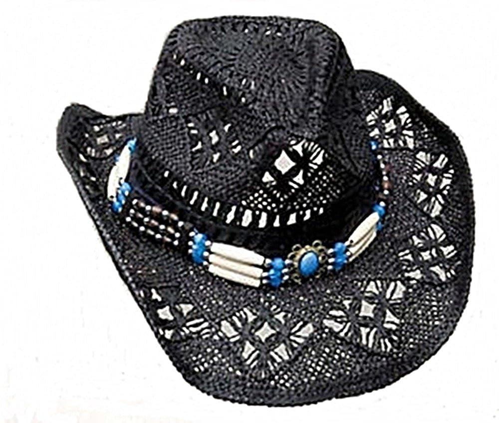 Cappello Di Paglia Cappello Da Cowboy Western cappello nero con cappello Band Line Dance (52–56)
