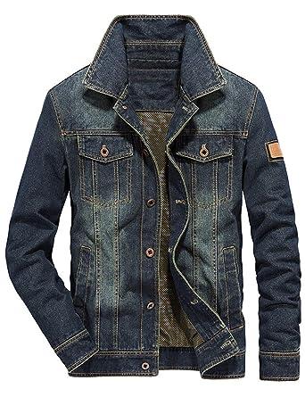 92eeee44 Omoone Men's Vintage Button Down Ripped Denim Outwear Jean Trucker Jacket  Coats