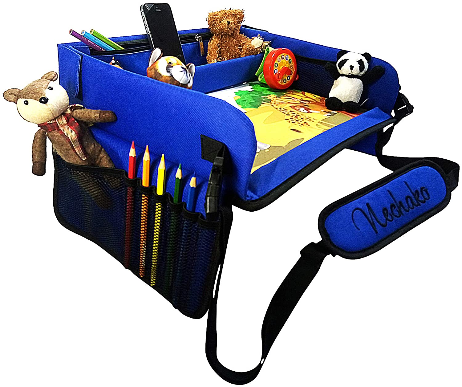 Nechako Kids Car Seat Travel Tray - Portable Activity Snack Table for a Travelling Toddler in a Carseat, Plane, Stroller - Toddlers Lap Desk Play Trays for Toys, Tablet, Creative Art and Activities