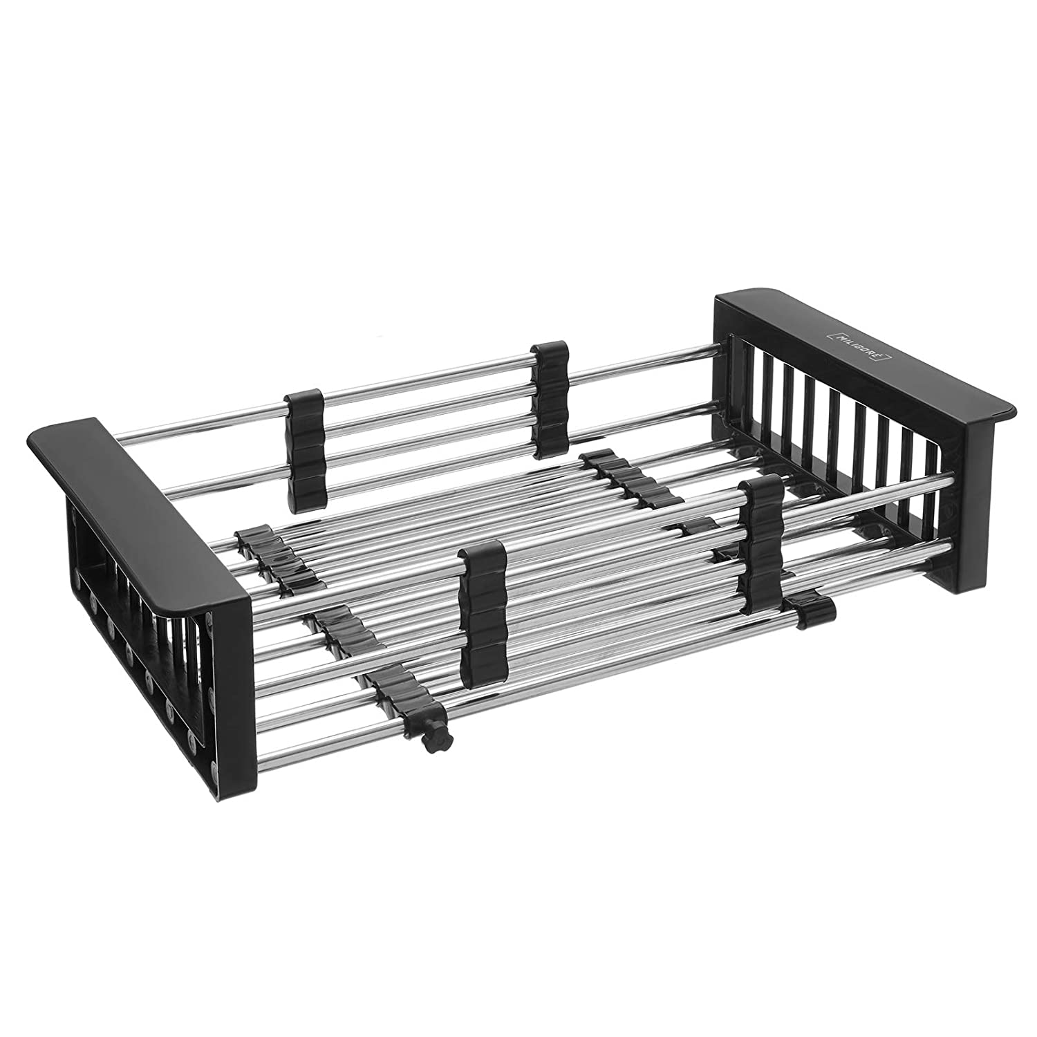 Black Miligore Expandable Over The Sink Dish Drying Rack,/Stainless Steel Kitchen Sink Organizer Basket