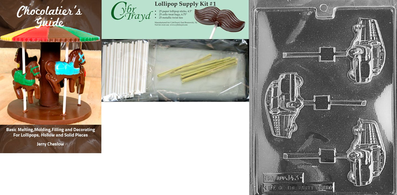Cybrtrayd ''School Bus Lolly'' Chocolate Mold with Chocolatier's Supply Bundle, Includes 25 Lollipop Sticks, 25 Cello Bags, 25 Gold Twist Ties and Chocolatier's Guide