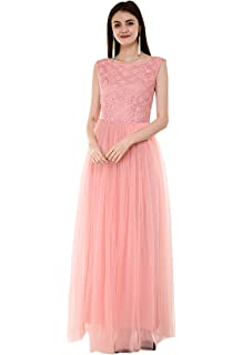 b190f0d049 V&M Women's Light Pink Lace 3/4 Sleeves Flared Gown Dress: Amazon.in ...