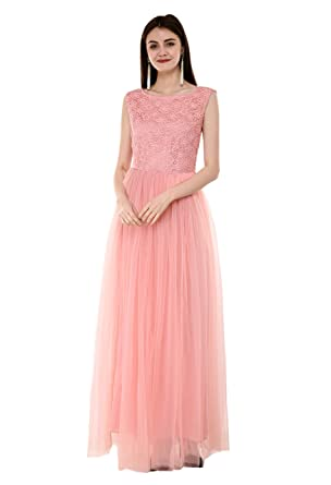 f33da1f12a V&M Peach Floral Lace Work Embellished Bodice net Flared Gown for Women  (X-Small