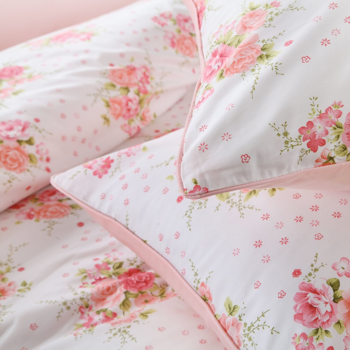 3 Pieces Brandream Floral Duvet Quilt Cover Set King Size Chinoiserie Peony Printed Bedding Set Egyptian Cotton