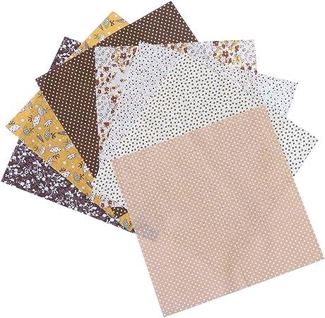 Artibetter - 7 piezas de tela de algodón para parches, cuadrados, costura, manualidades, tela floral, color verde, tela de algodón, café, 7PCS: Amazon.es: Hogar
