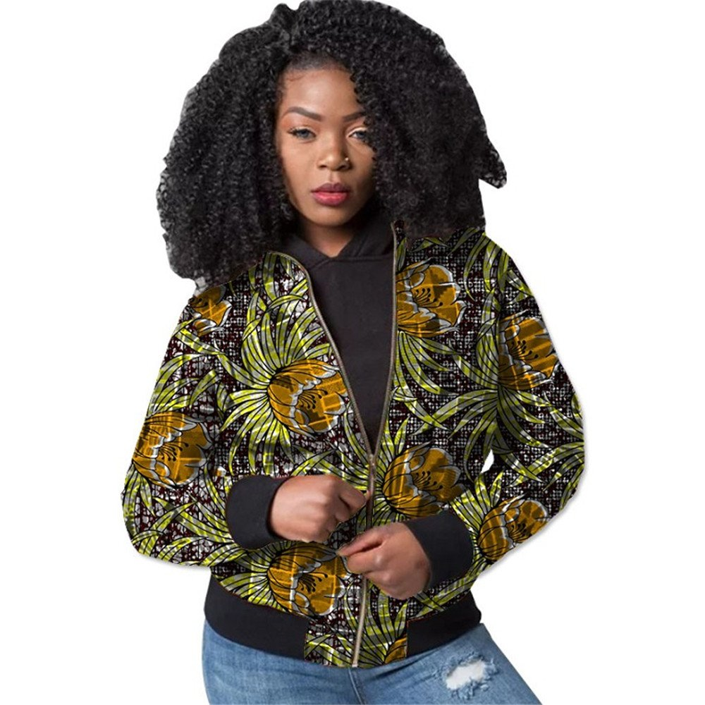 African Jacket Coat Women Wax Blouse Top Crop Traditional Aviator Cotton4 M