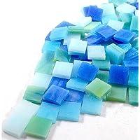 Sai Mosaic Art Stain Glass Mosaic Pcs, Aqua Assortment 10x10mm, 100Gm Pack, 145-150 Pcs