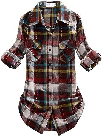Matchstick Camisas de Mujer Blusa de Franela #B003(2021 Checks#4,Medium)