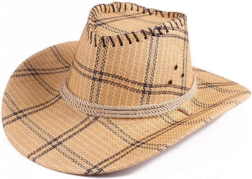 Unisex Western Cowboy Hat Plaid Jazz Caps Summer Boater Cap Big Brim Cattlemen Hat
