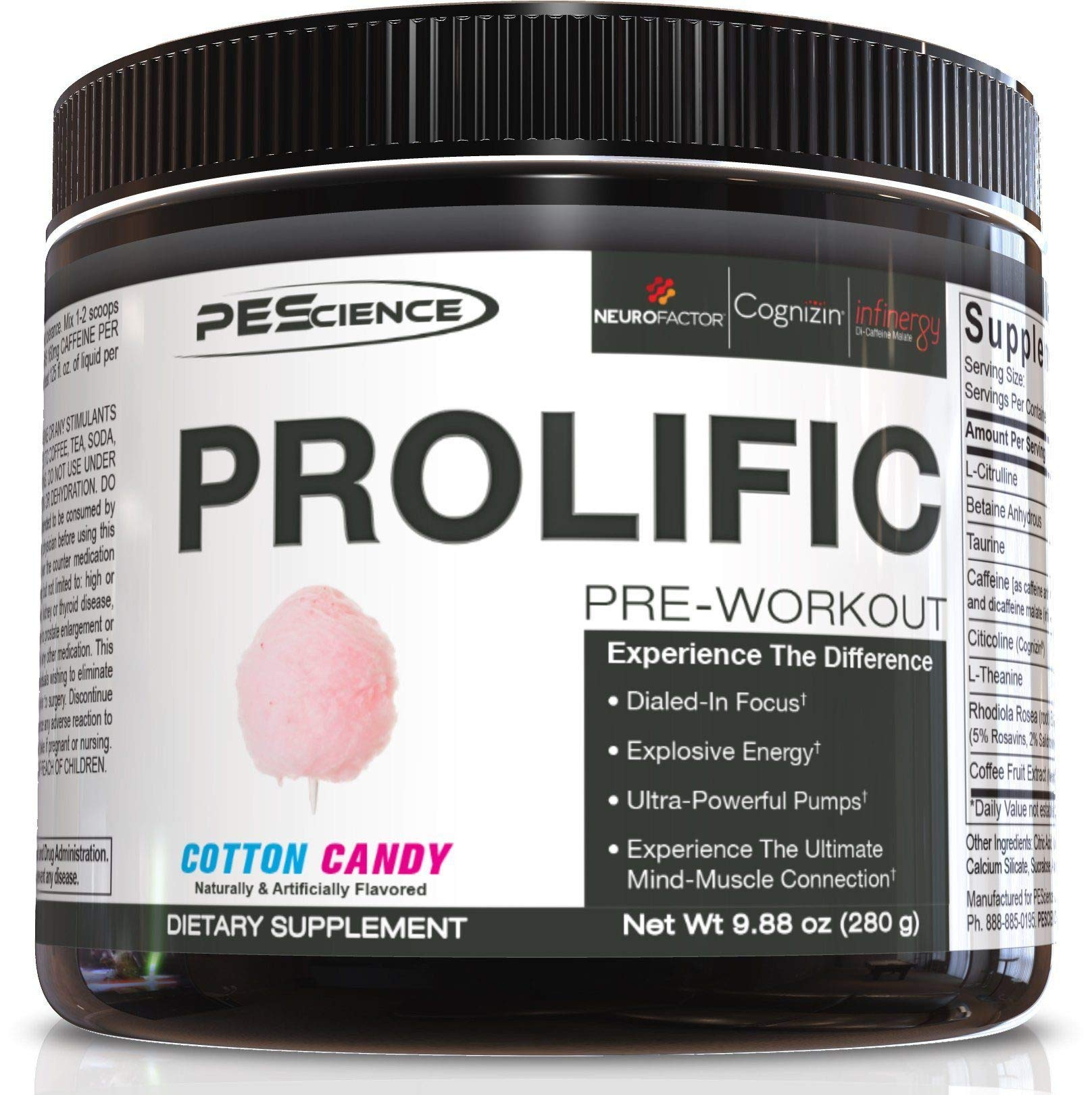 PEScience Prolific Preworkout Powder, Cotton Candy, 40 Scoops by PEScience