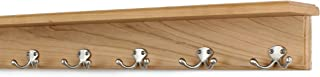 """product image for PegandRail Solid Cherry Shelf Coat Rack with Satin Nickel Double Style Hooks (Natural, 26"""" with 5 Hooks)"""