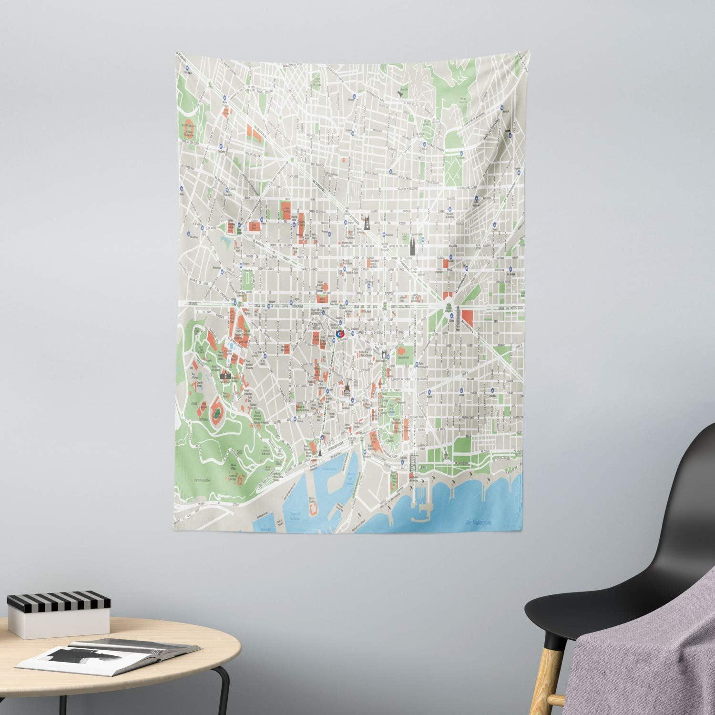 ABAKUHAUS Mapa Tapiz de Pared y Cubrecama Suave, Calles De ...