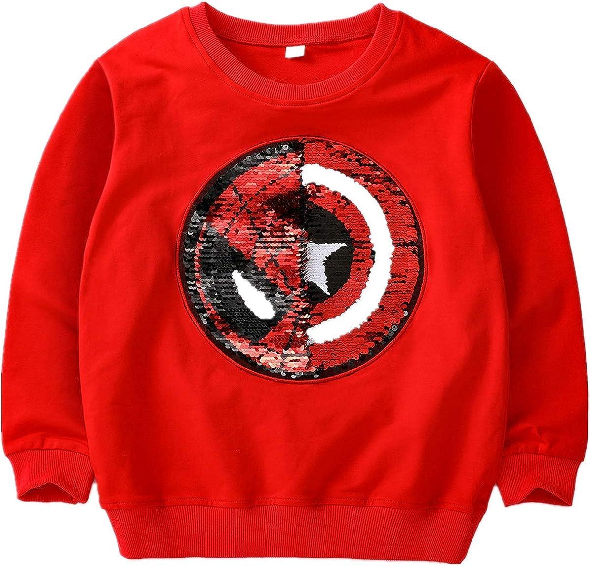 i pass Boys Girls Kids Superhero Flip Sequins Color Fashion Long Sleeve Sweatshirt Cotton 3-8 Years Old