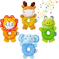 TUMAMA Baby Toys for 3, 6, 9, 12 Months Newborn, Soft Cute Stuffed Animal Rattles for Baby and Infant Developmental Hand…