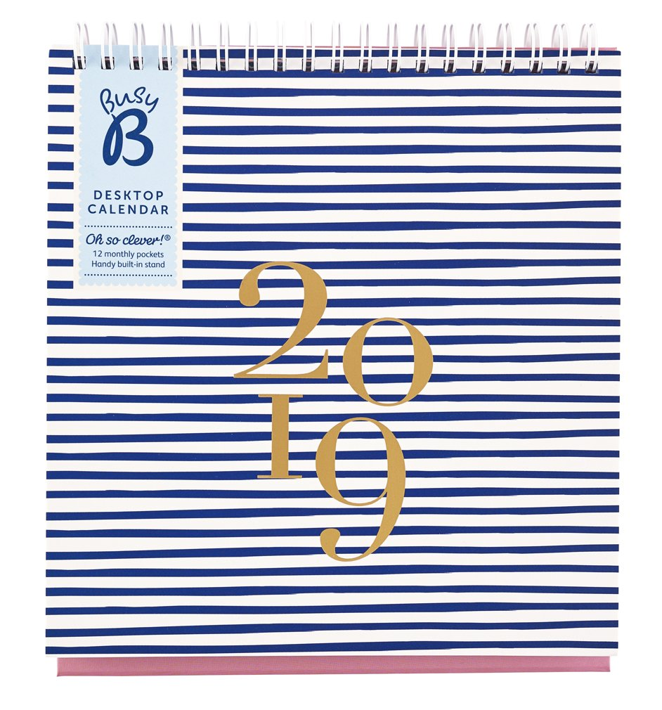 Busy B Schreibtischkalender 2019 mit Aufbewahrungsf/ächern integriertem St/änder und Monatsansicht