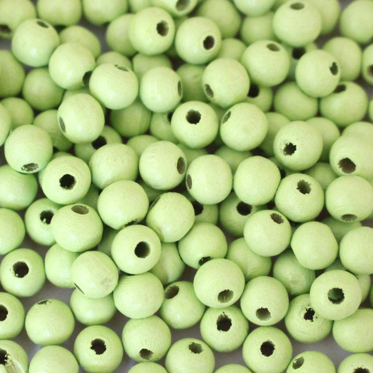 Tacool 500pcs Wood Beads Round Beads for Jewelry DIY Craft Making Loose Wooden Beads fit Gemstone Beads (Apple Green, 10mm)