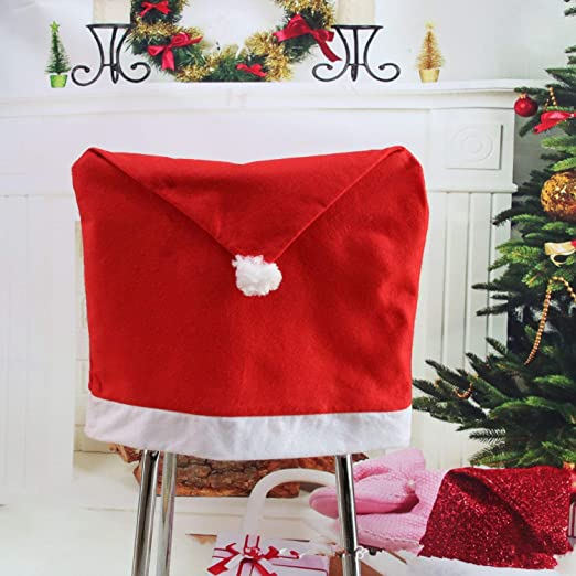 70cm x 50cm, Red, 2pcs Trimming Shop Christmas Theme Chair Cover Xmas Festive Dining Decorations Santa Short Chairs Fabric Back Cover With White Snowflake Pom-Pom