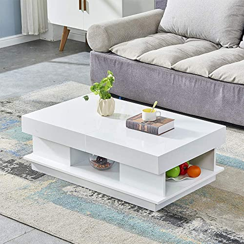 HomeSailing Living Room High Gloss Coffee Table White