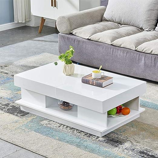 Boju Modern White Wood High Gloss Coffee Table 2 Tiers With Hidden
