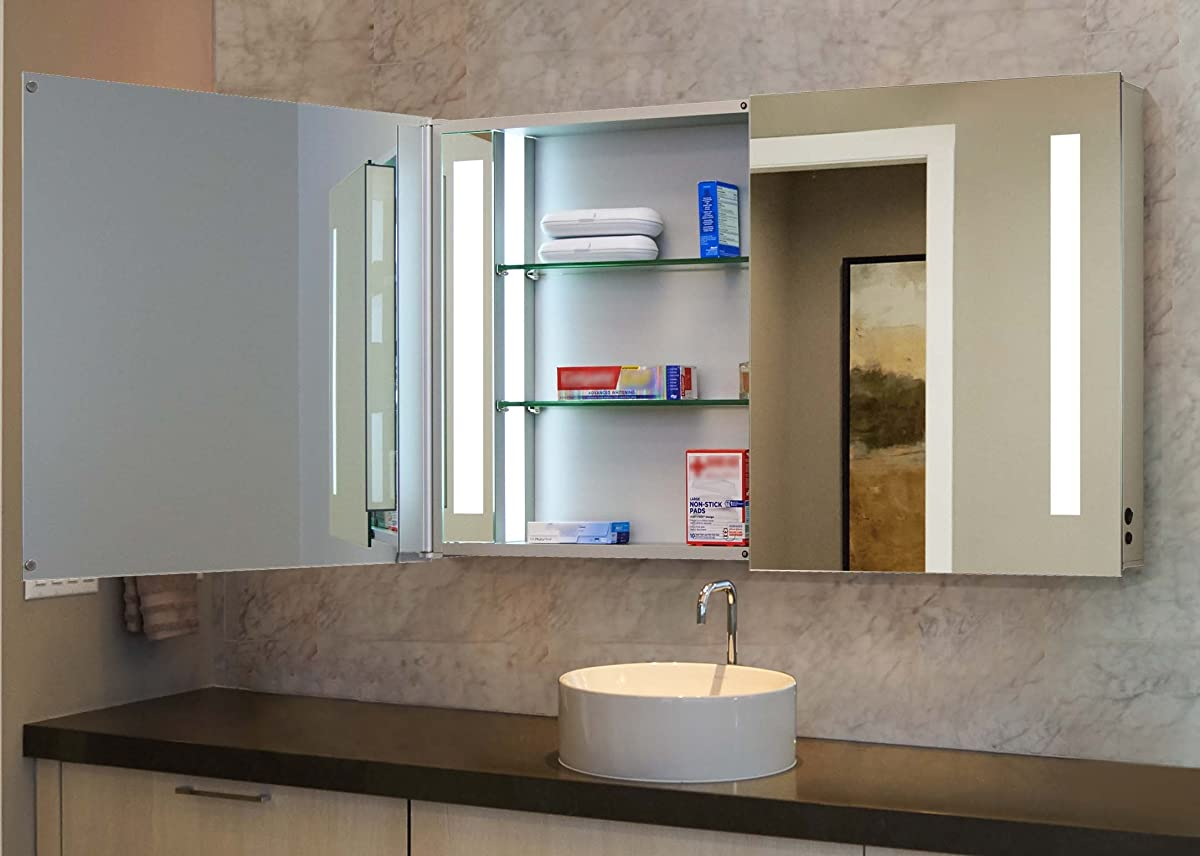 "Innoci-USA Zeus LED Double Door Wall Mount Mirrored Lighted Medicine Cabinet Vanity Featuring IR Sensor, Tempered Glass Shelves and Rocker Switch 48"" x 26"""