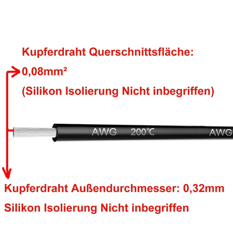 200 /° C 5 x 3metros 60 /° C NorthPada 14 AWG 2,08mm/² Alambres el/éctricos Kit de Cable El/éctrico Cables de silicona Cables Cable de cobre esta/ñado 5 Colores 600V 20A