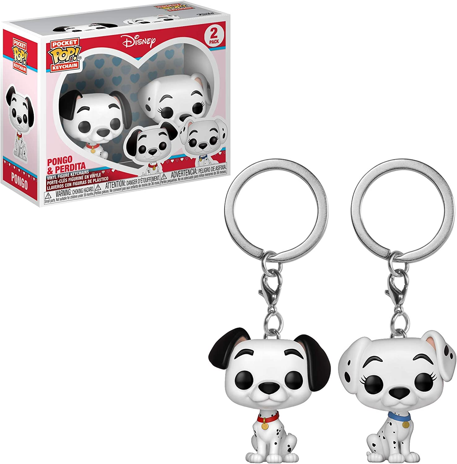 Funko Pop! Keychain: 101 Dalmations - Pongo & Perdita 2 Pack Toy, Multicolor