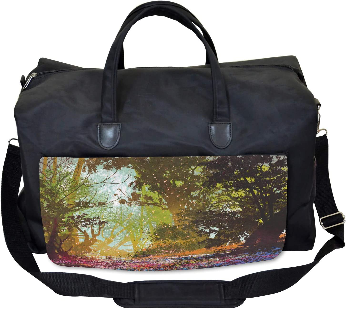 Spring with Fall Leaves Ambesonne Nature Gym Bag Large Weekender Carry-on