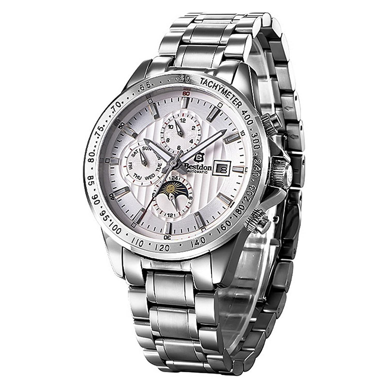 Souarts Herren Sliber Farbe Automatik Uhr Wasserdicht Mechanische Skelett Armbanduhr mit Edelstahl Zifferblatt Kalender