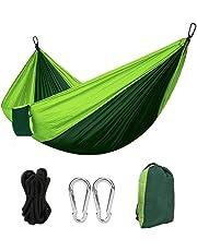 Hamaca Colgante 270 * 140cm 300kg Capacidad de Carga Ultra Ligera Nylón de Paracaída Portátil y Transpirable,Ideal para Viaje Jardín, Camping de Eastshining. (Color Verde)
