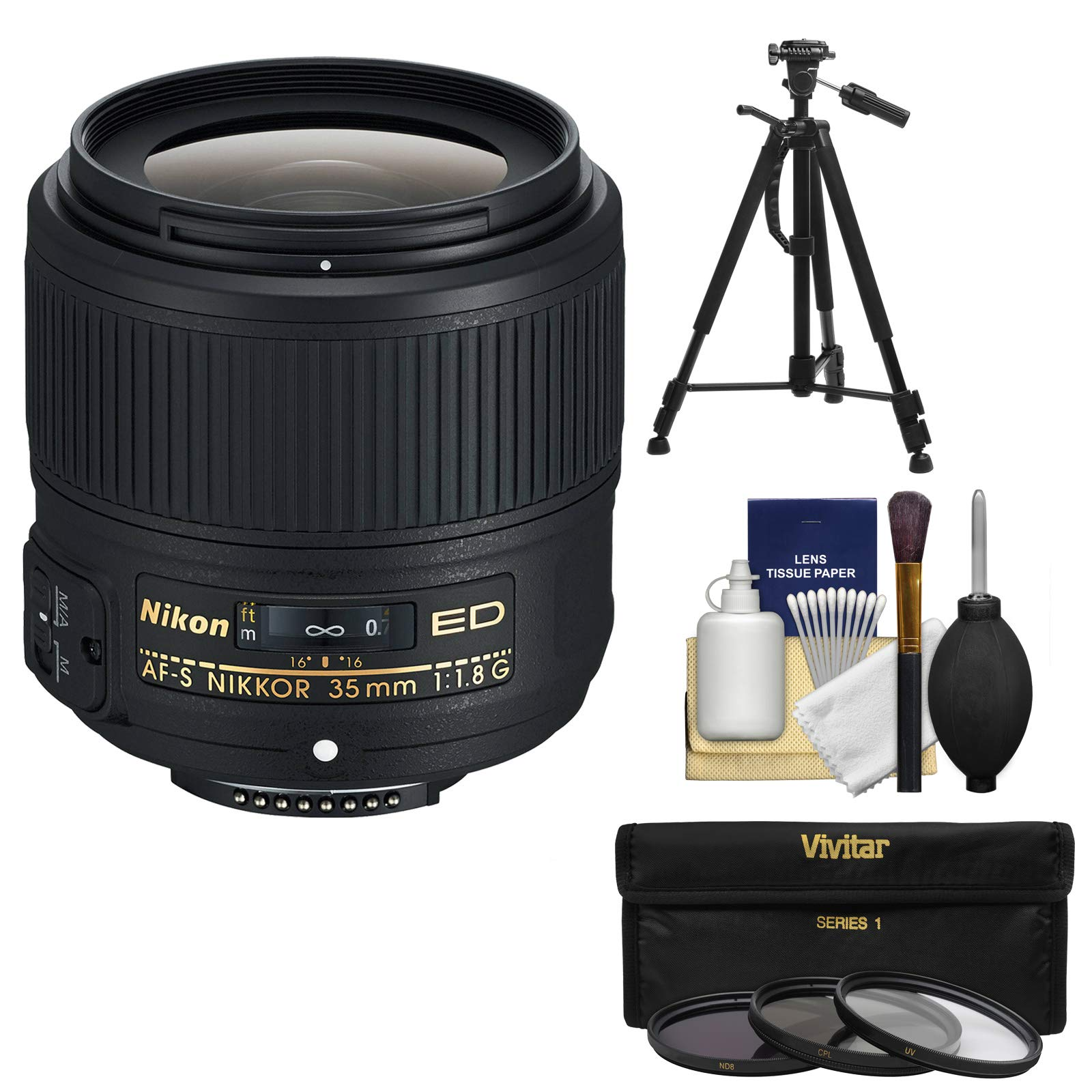 Nikon 35mm f/1.8G AF-S ED Nikkor Lens with 3 UV/CPL/ND8 Filters + Tripod Kit for D3200, D3300, D5300, D5500, D7100, D7200, D750, D810 Cameras by Nikon