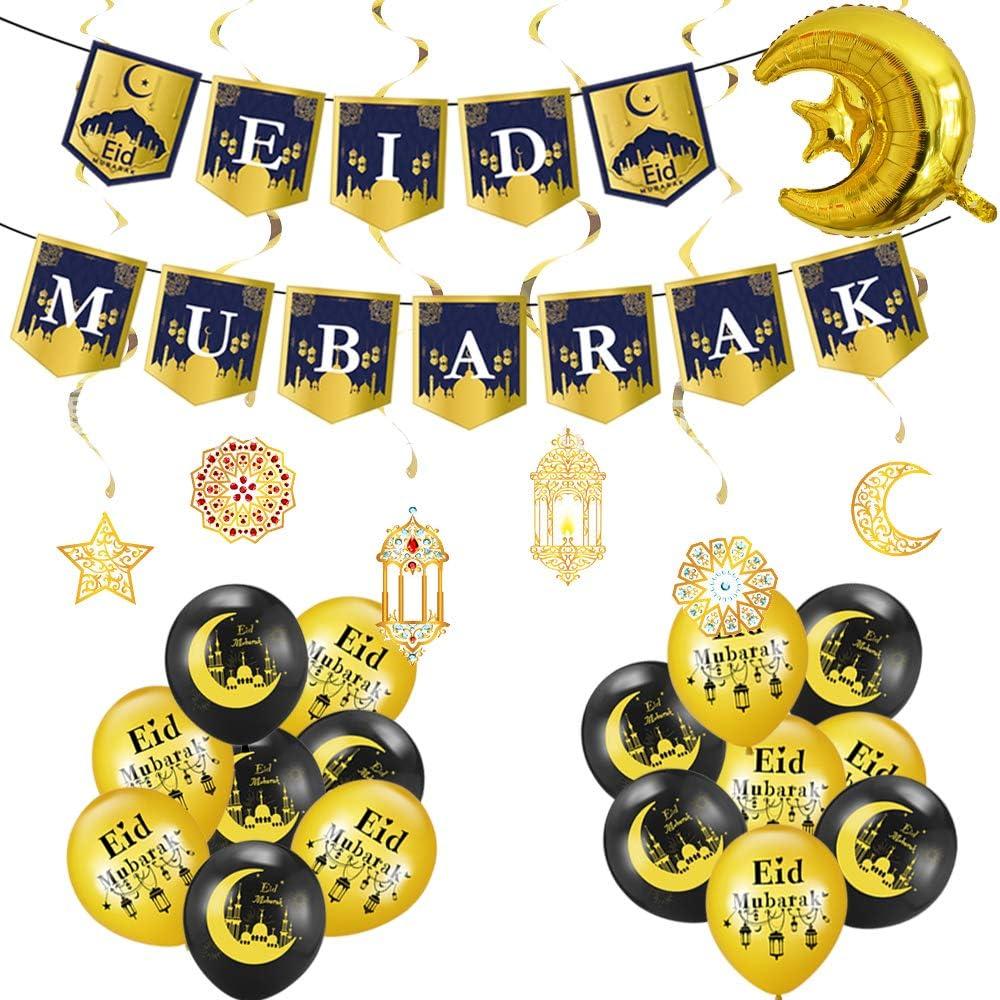 Ramadan Mubarak Party Decoration Set-16pcs Themed black gold latex balloons and spiral ornaments and Ramadan balloons for Eid Mubarak party holiday home decoration
