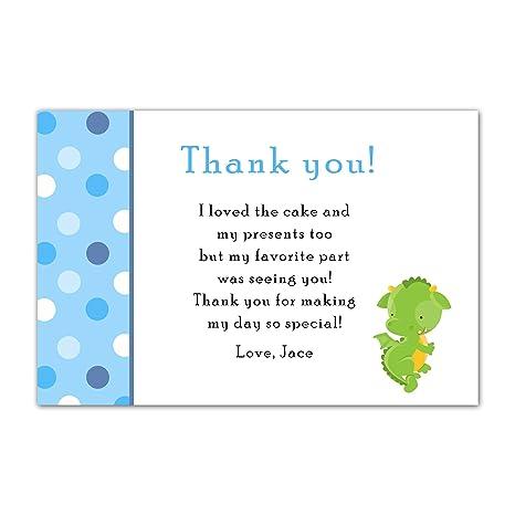 Amazon Com 30 Thank You Cards Note Blue Green Dragon Baby Boy