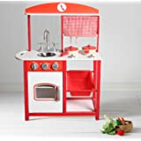 Large Kids Wooden Play Kitchen Boys Girls Children's Play Set Toy - Red